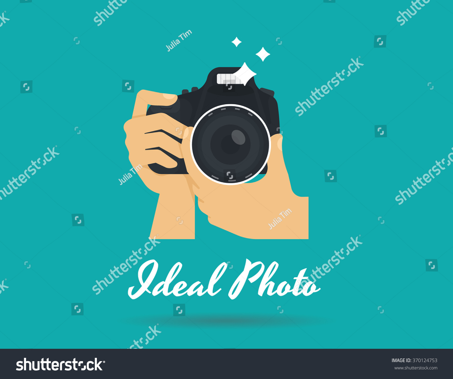 photographer hands with camera icon or logo template flat illustration of lens camera shooting macro