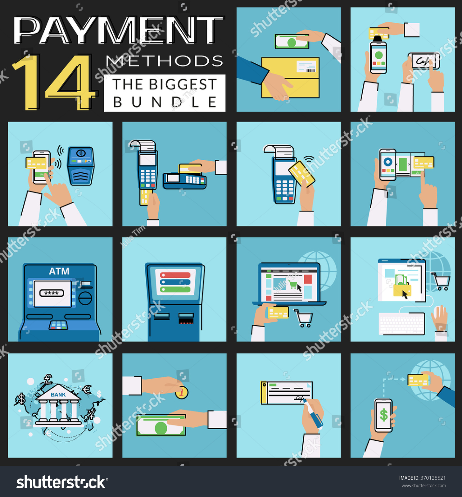 Flat Icons Set Payment Methods Such Stock Vector 370125521 ...