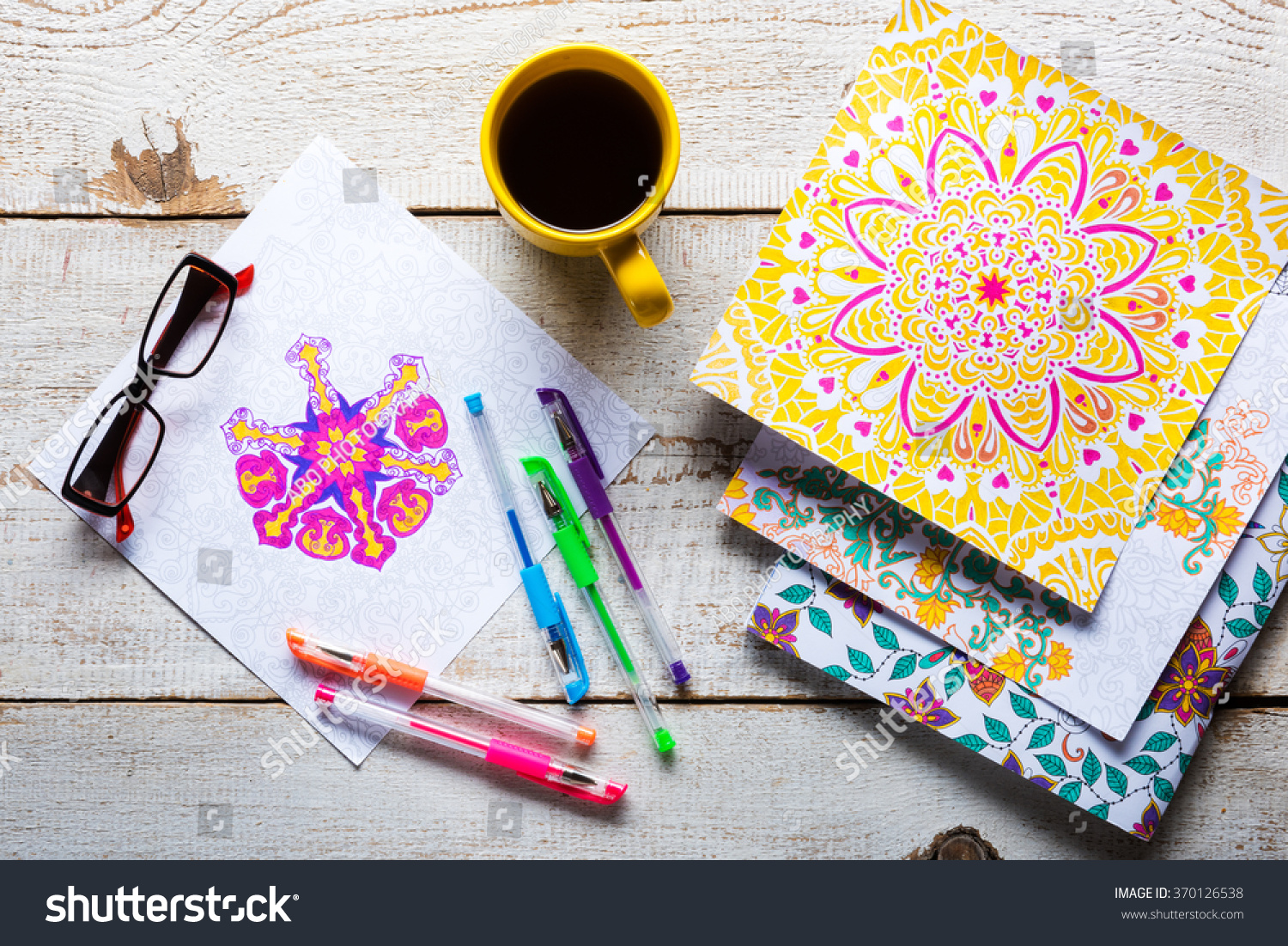Adult Coloring Books Stress Relieving Trend Mindfulness Concept