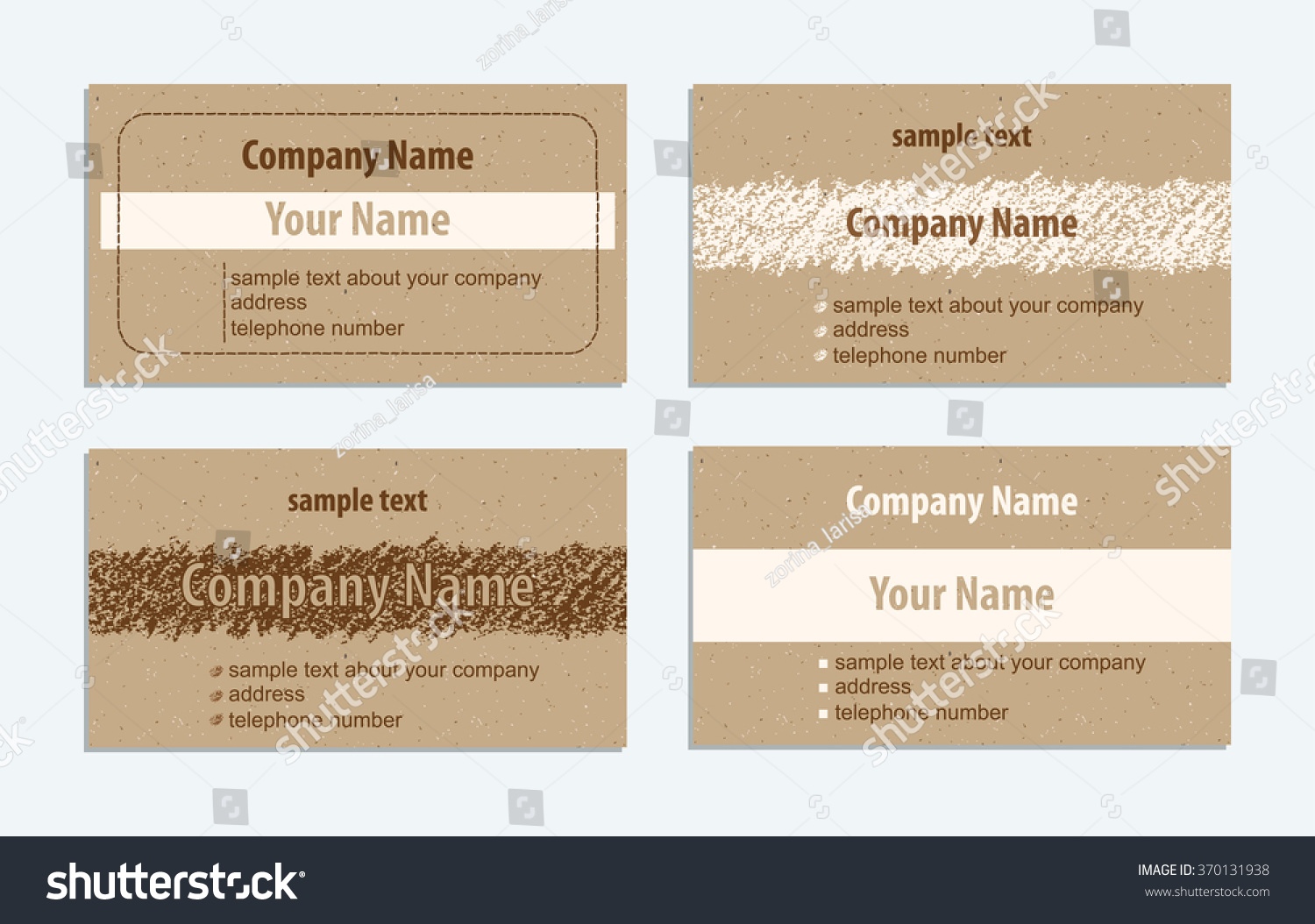 Set Vintage Handmade Business Cards Hand Stock Vector 370131938 ...