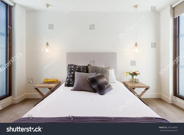 beautiful hamptons style bedroom decor luxury stock photo