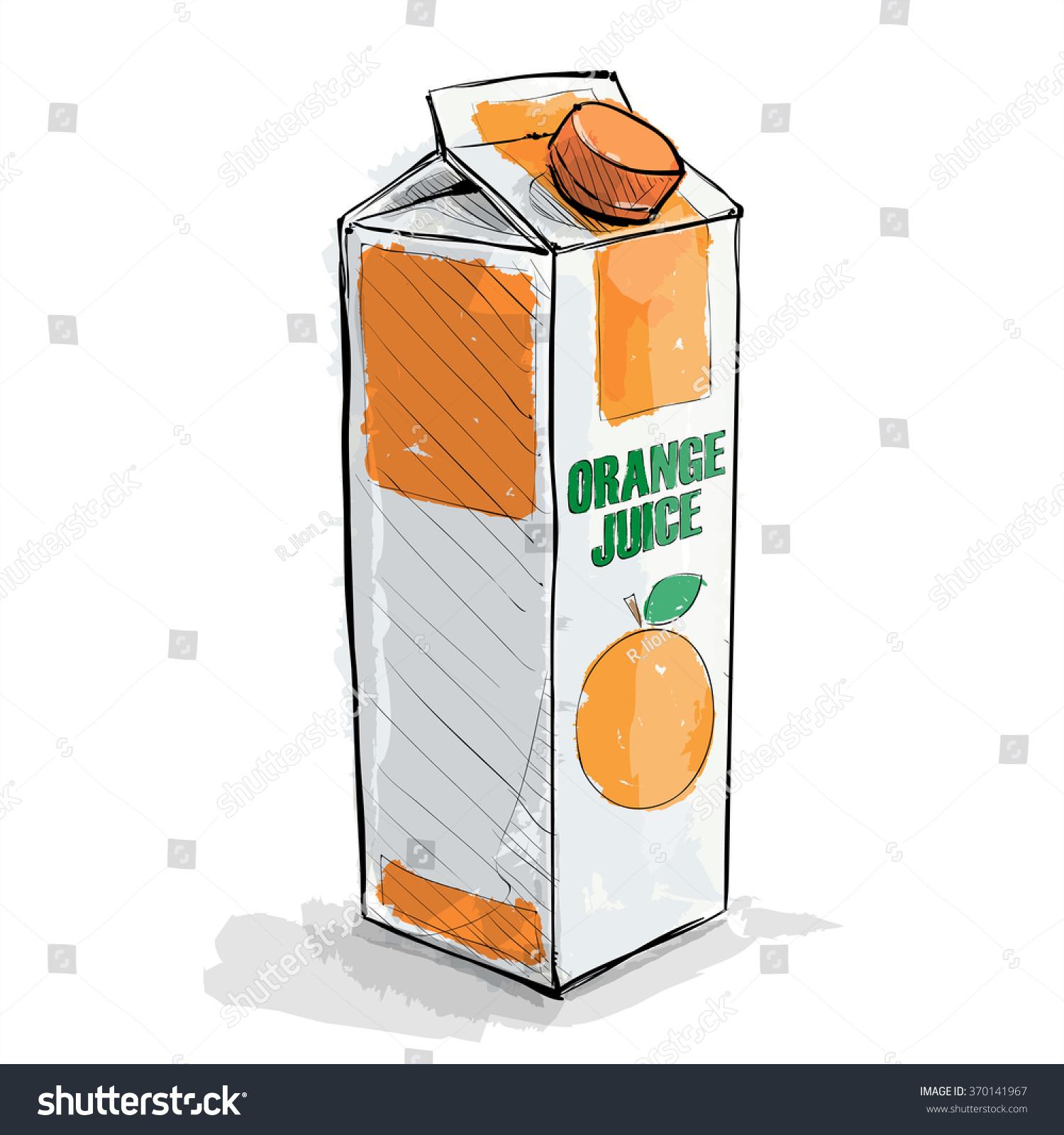 Line Art Juice : Hand draw orange juice vector illustration stock