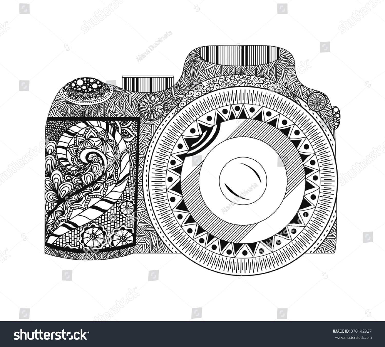 camera coloring pages Monochrome Coloring Page Camera Hand Drawn Stock Illustration  camera coloring pages