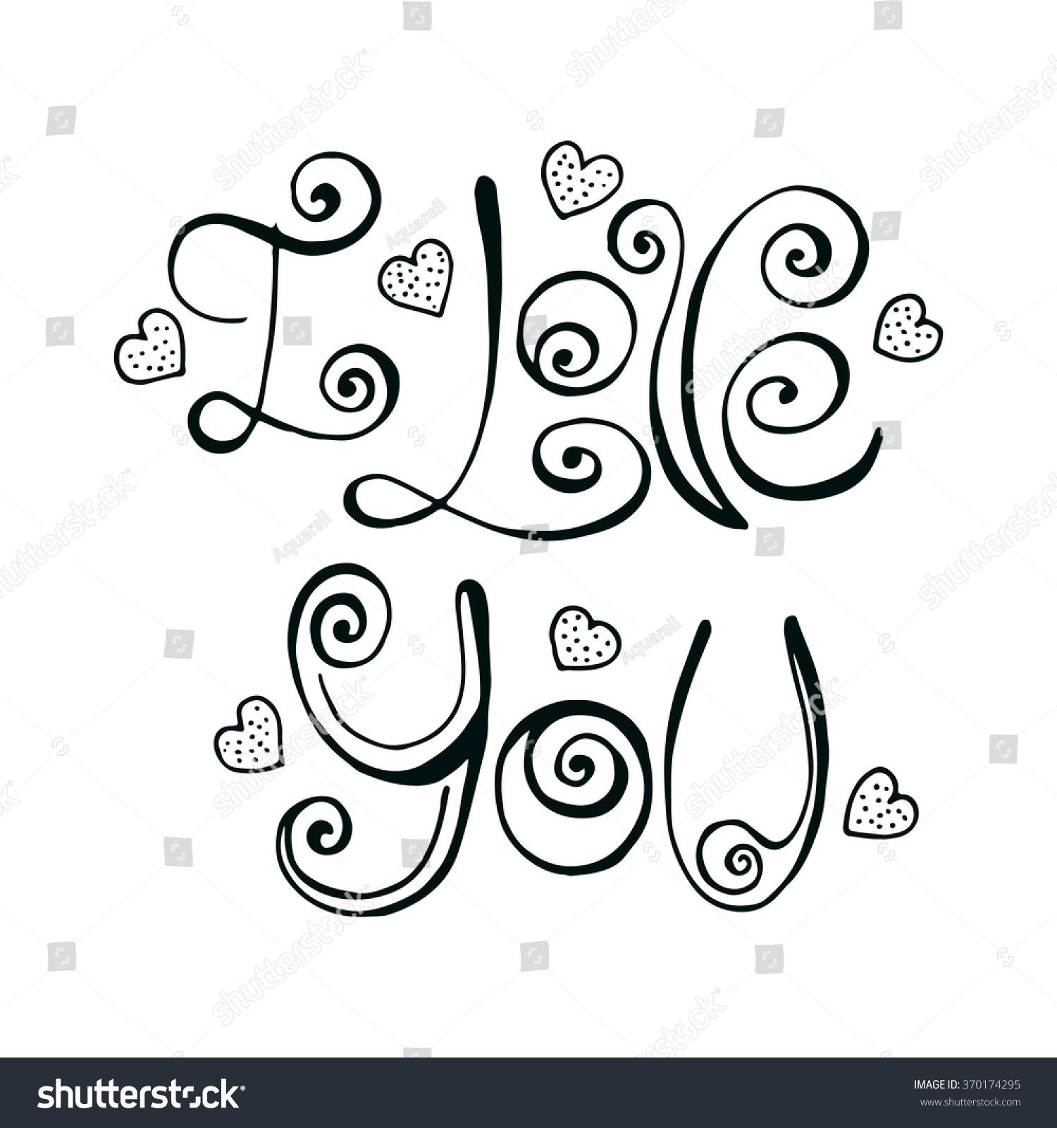 Vector Hand Written Love You Letters Stock Vector