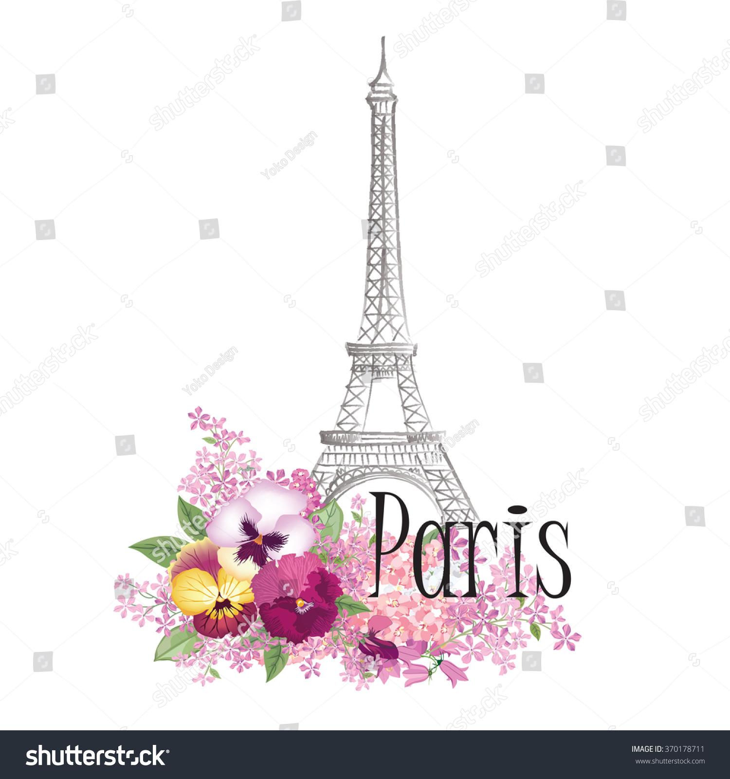 Paris Illustration: Floral Paris Illustration Famous Paris Landmark Eiffel