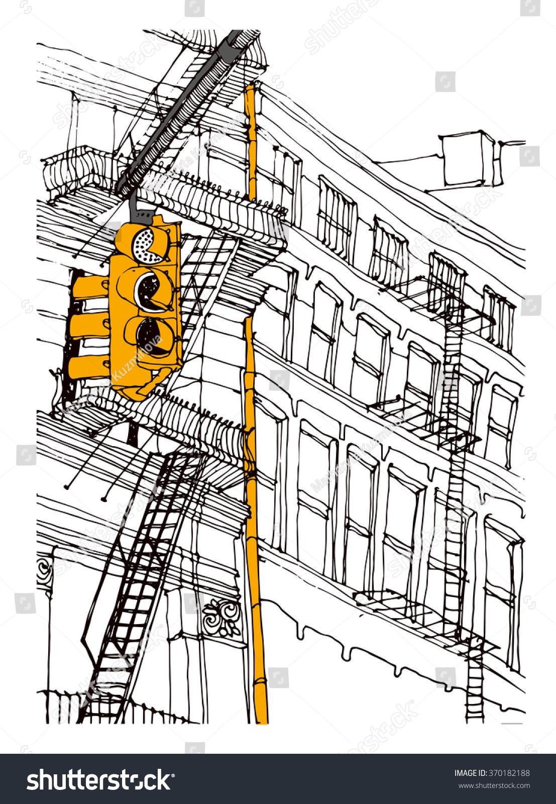 Scene Street Illustration Hand Drawn Ink Stock Vector Royalty Free Traffic Light Schematic Diagram Line Sketch New York Citymanhattan With Buildings