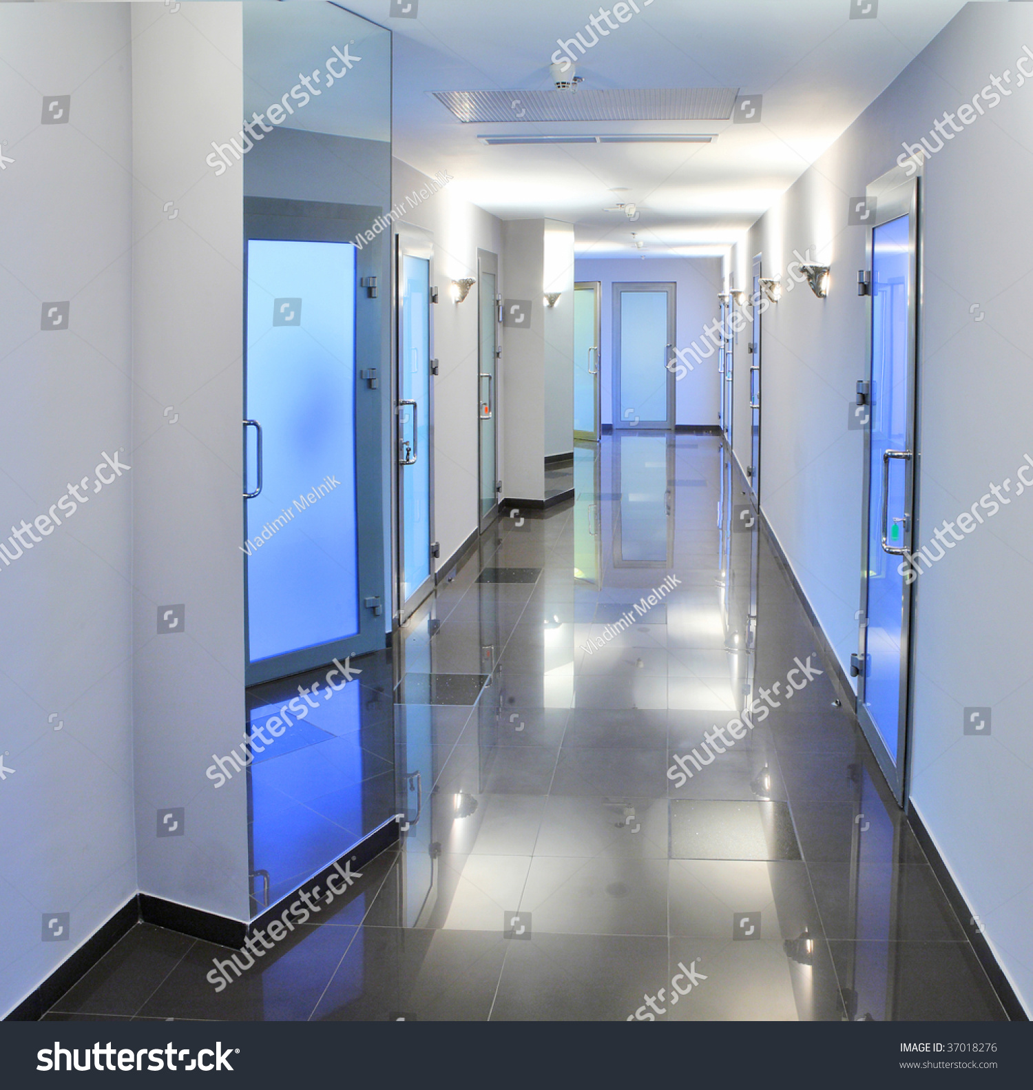 Hospital Corridor Lighting Design: Long, Empty Corridor In A Hospital Or Office Building