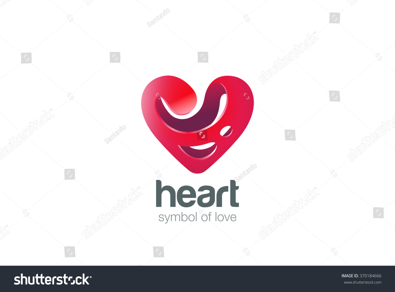 Love Heart Logo Shape Abstract Design Stock Vector ...