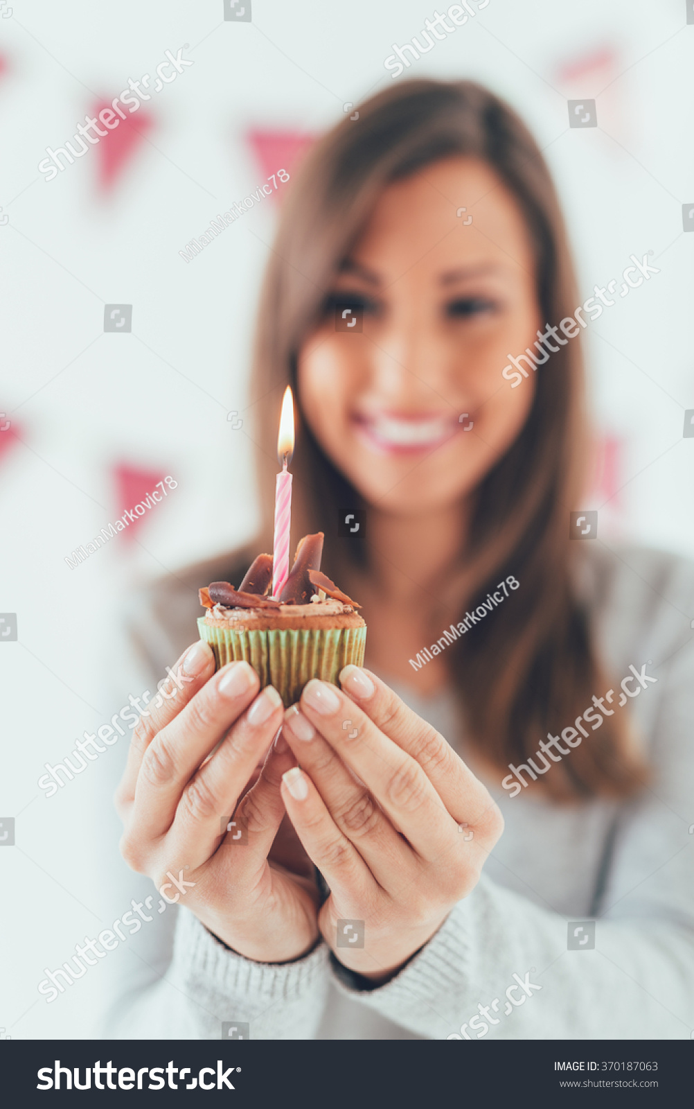 Beautiful Young Smiling Woman Holding Small Stock Photo