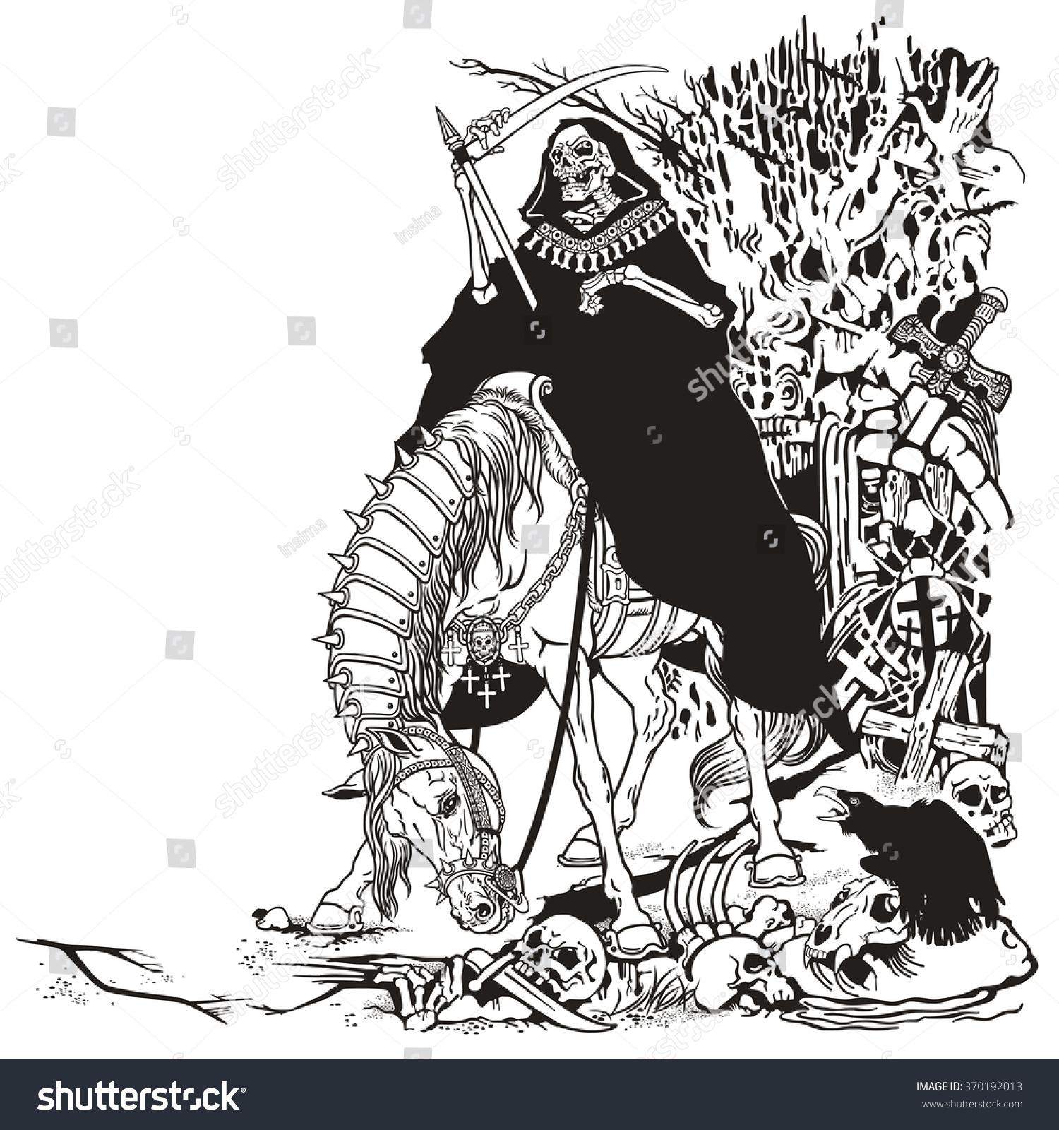 grim reaper symbol death time sitting stock vector 370192013