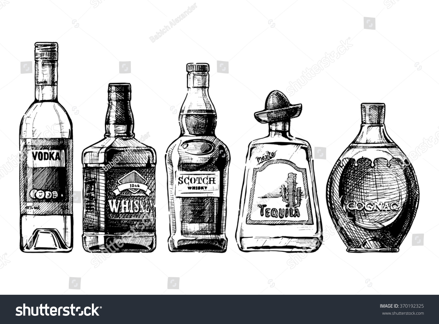 royalty free set of bottles of alcohol in ink hand 370192325 stock