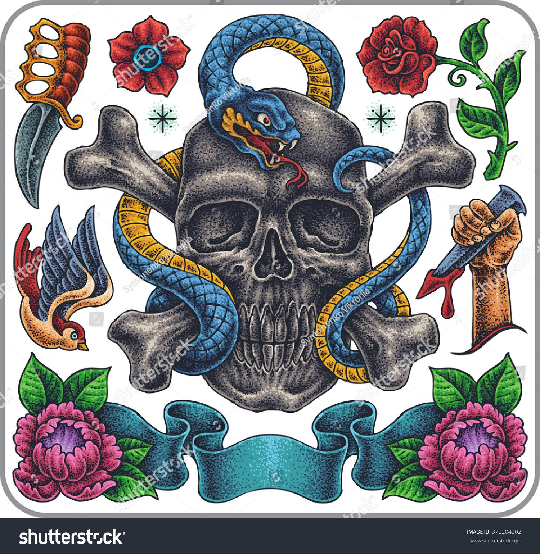 Handdrawn Set Old School Classic Tattoos Stock Vector 370204202 ...