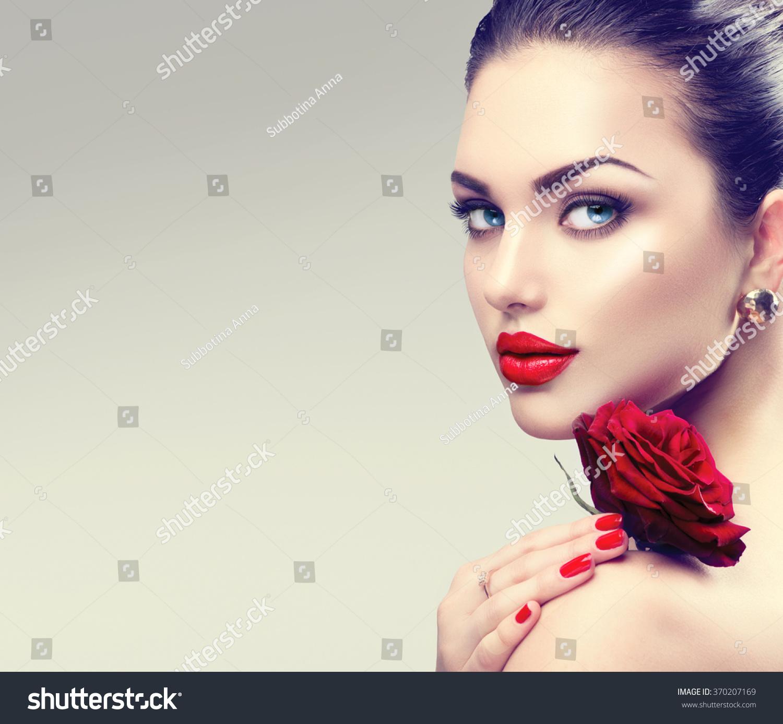 Fashion Beauty Model Girl Stock Image Image Of Manicured: Beauty Fashion Model Woman Face Portrait Stock Photo
