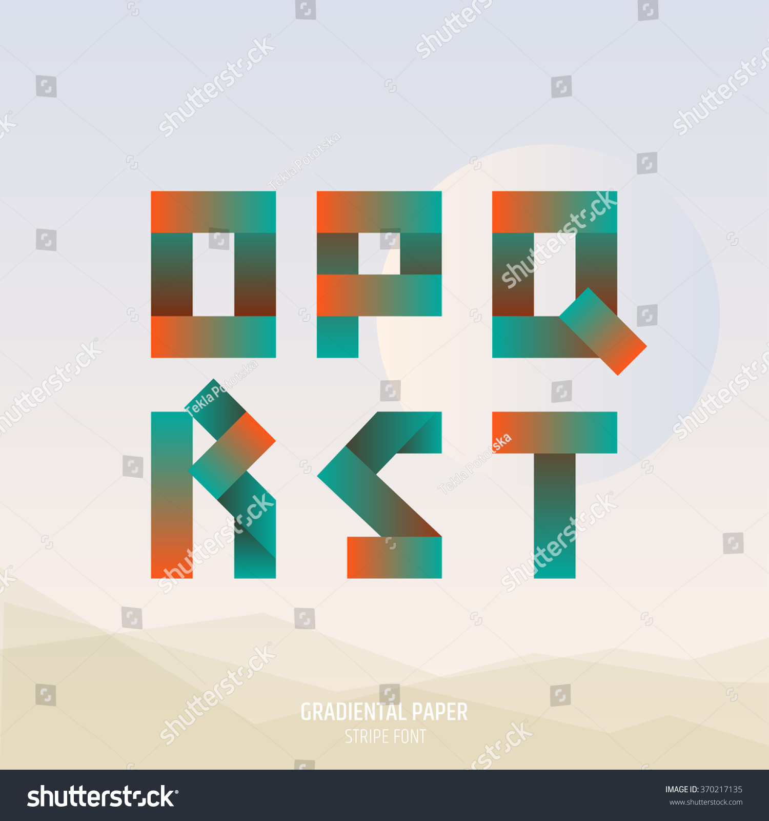 Fold Ribbon Alphabet Uppercase O P Stock Vector