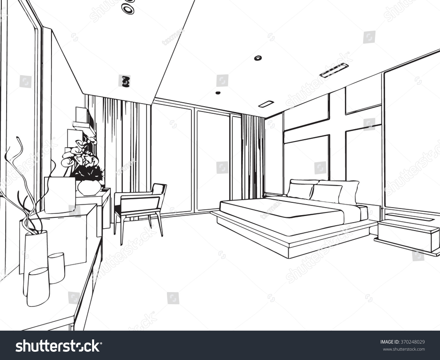 Outline sketch drawing perspective interior space stock for Living room outline