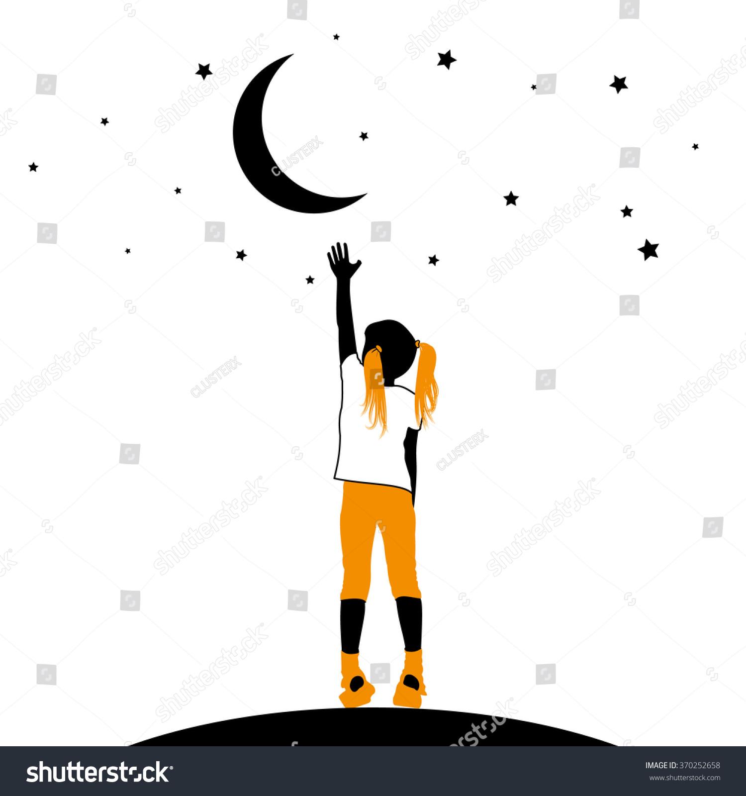 Vector Silhouette Little Girl Reaching Moon Stock Vector