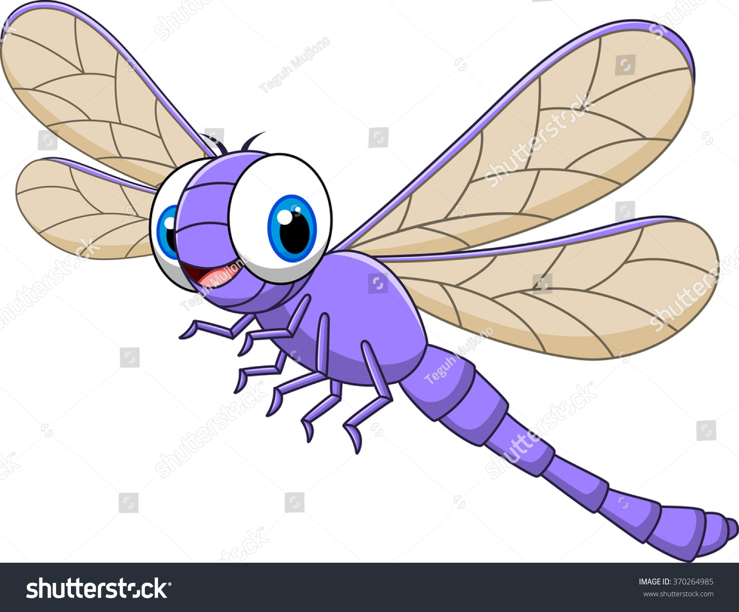 cartoon funny dragonfly isolated on white stock vector 370264985