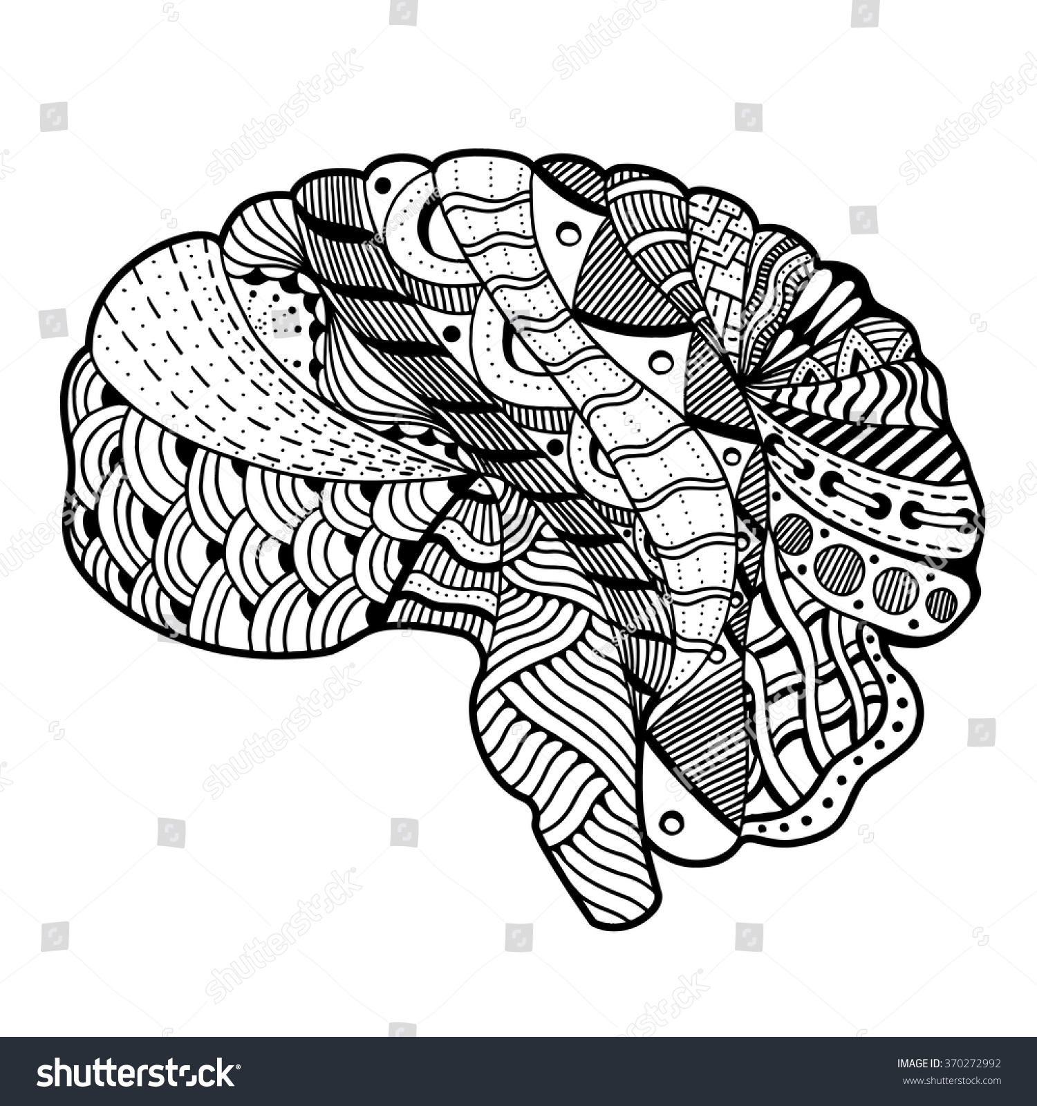 Zentangle Sketchy Human Brain Doodle Decorative Stock Vector