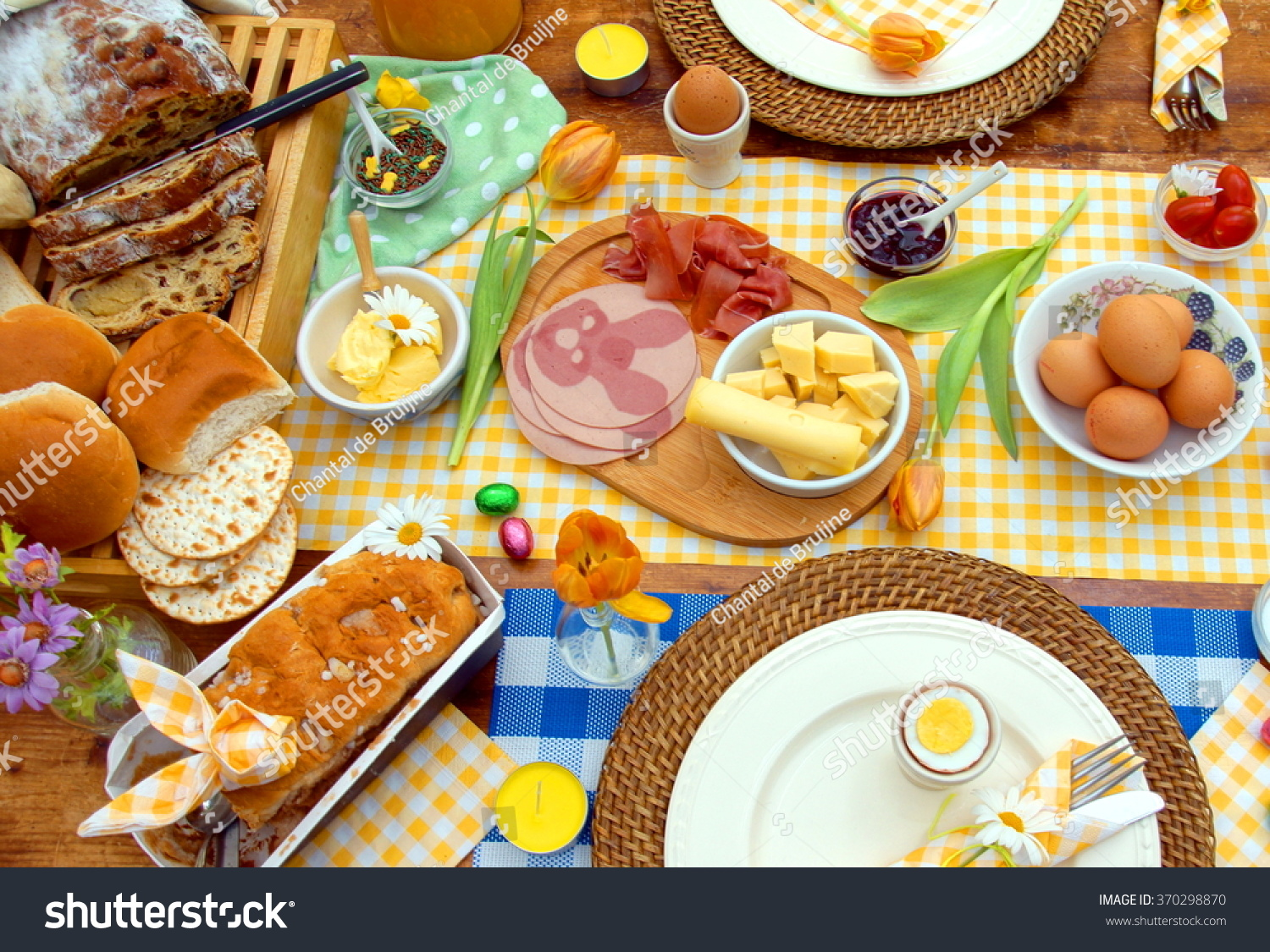 Table Setting For Breakfast Breakfast Brunch Table Setting Full Healthy Stock Photo 370298870