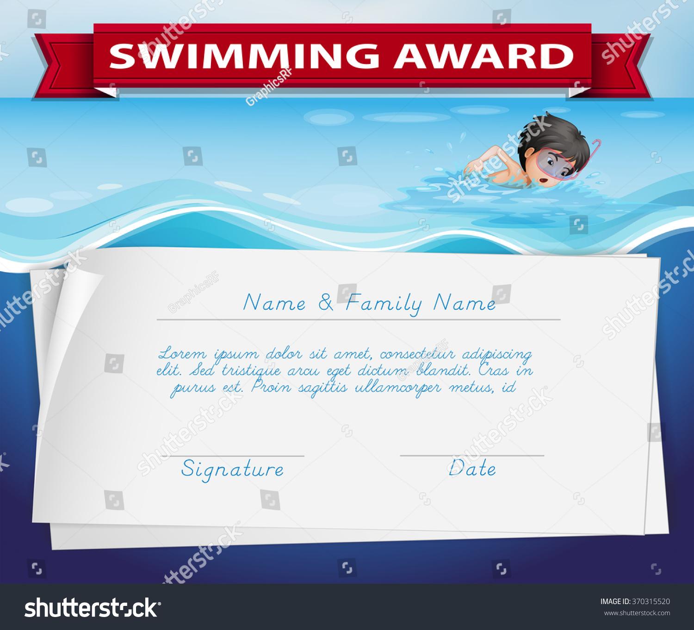 Template Certificate Swimming Award Illustration Stock Vector