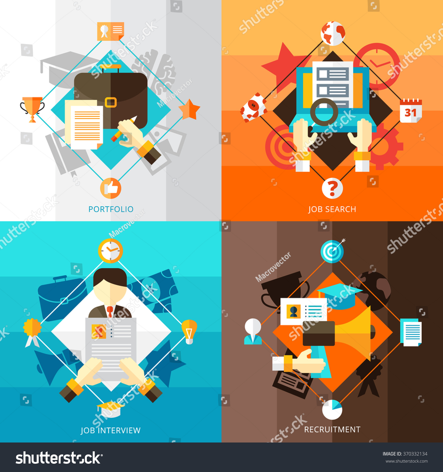 resume 2x2 flat design concept set stock vector 370332134 resume 2x2 flat design concept set of portfolio job search interview and recruitment compositions vector illustration