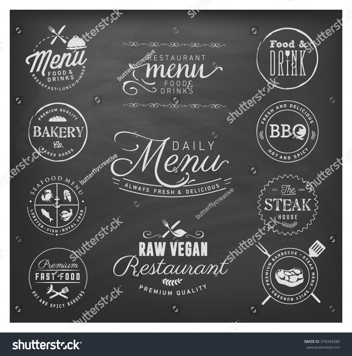 Restaurant menu badges design elements on stock vector