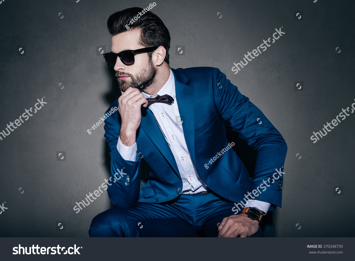 perfect style young handsome man suit stock photo