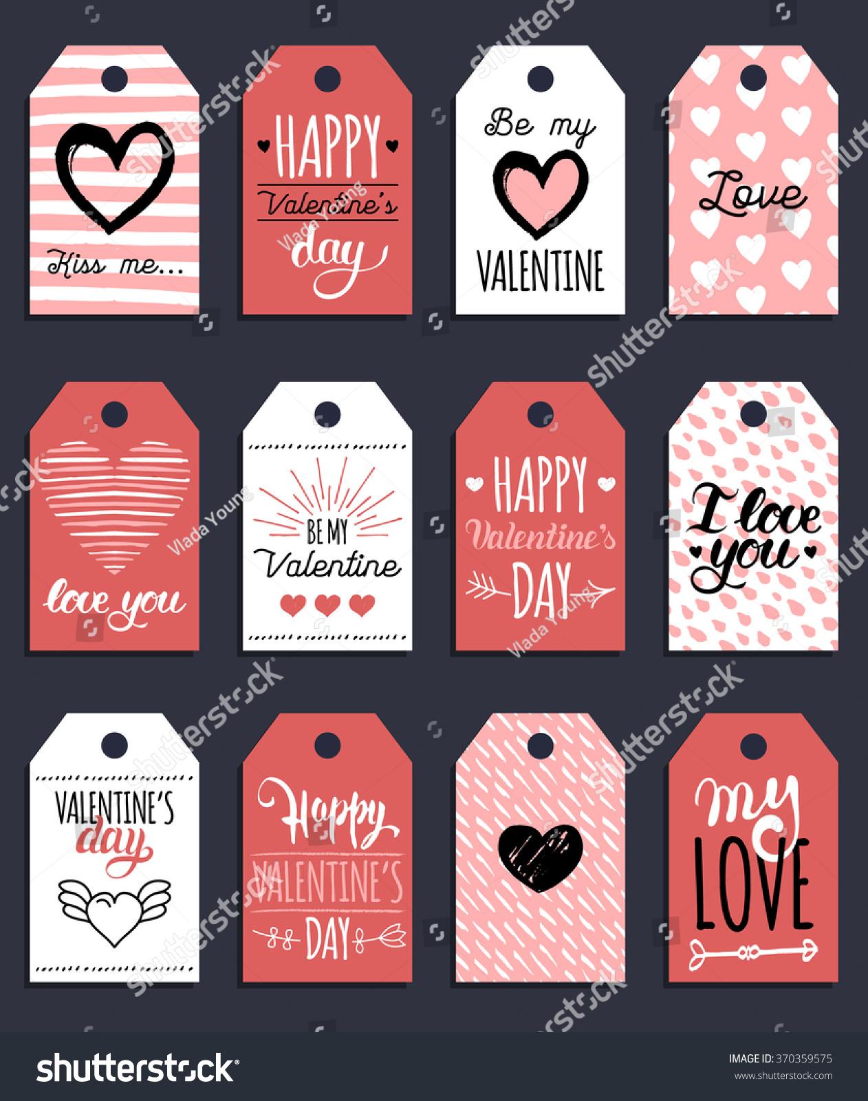 Vector Valentines Cards Templates Hand Drawn Stock-vektorgrafik ...