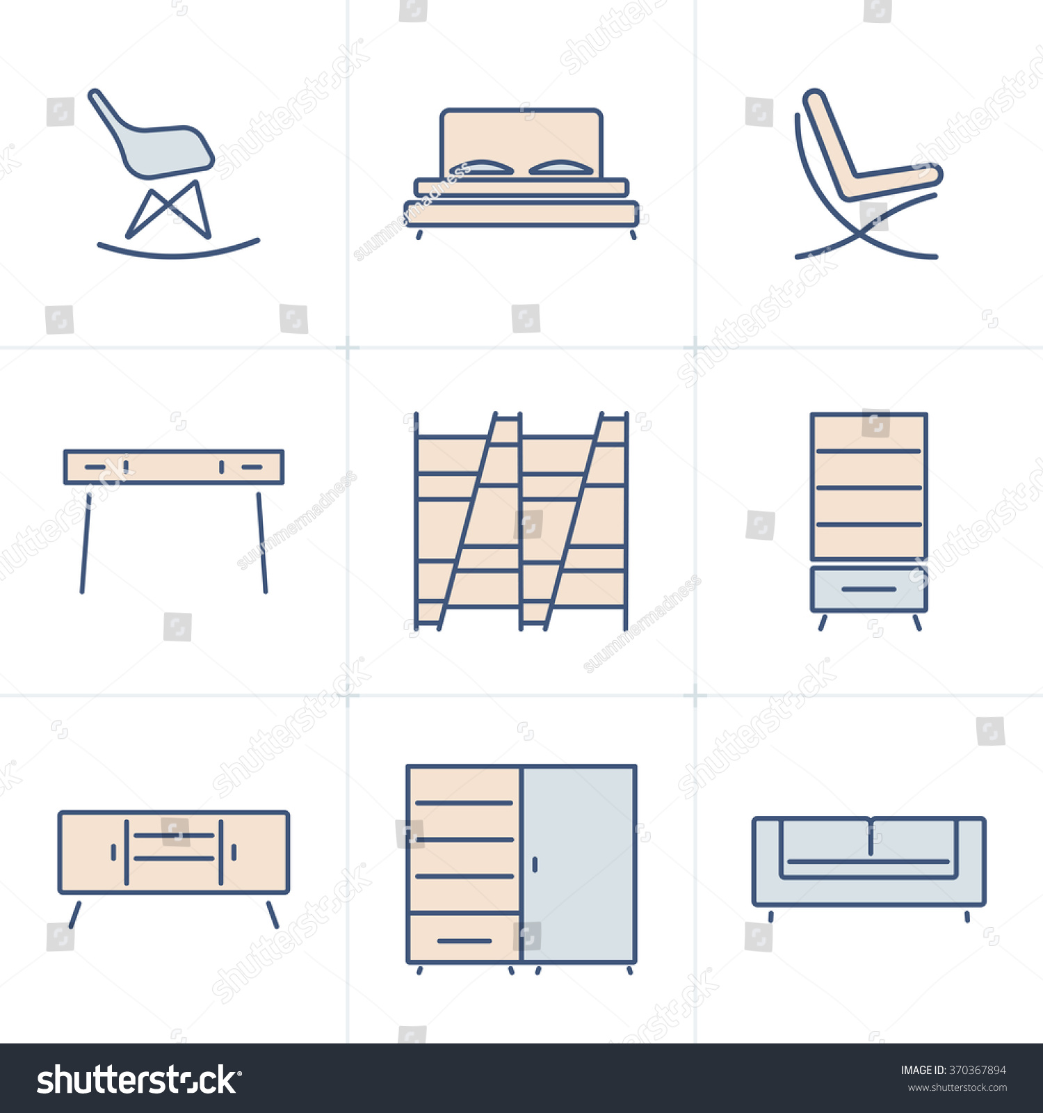 Modern Furniture Icon collection outline modern furniture symbols icon stock vector