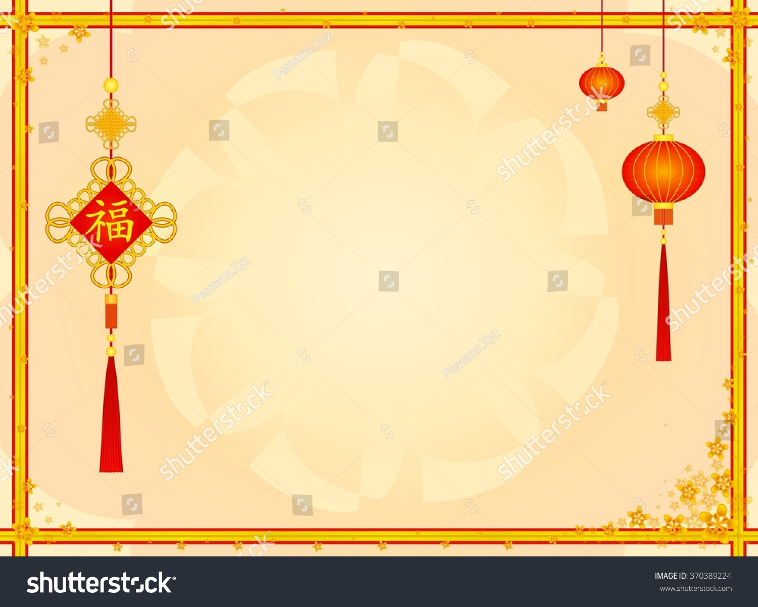 Blank Chinese Card Golden Borders Decorated Stock Illustration ...