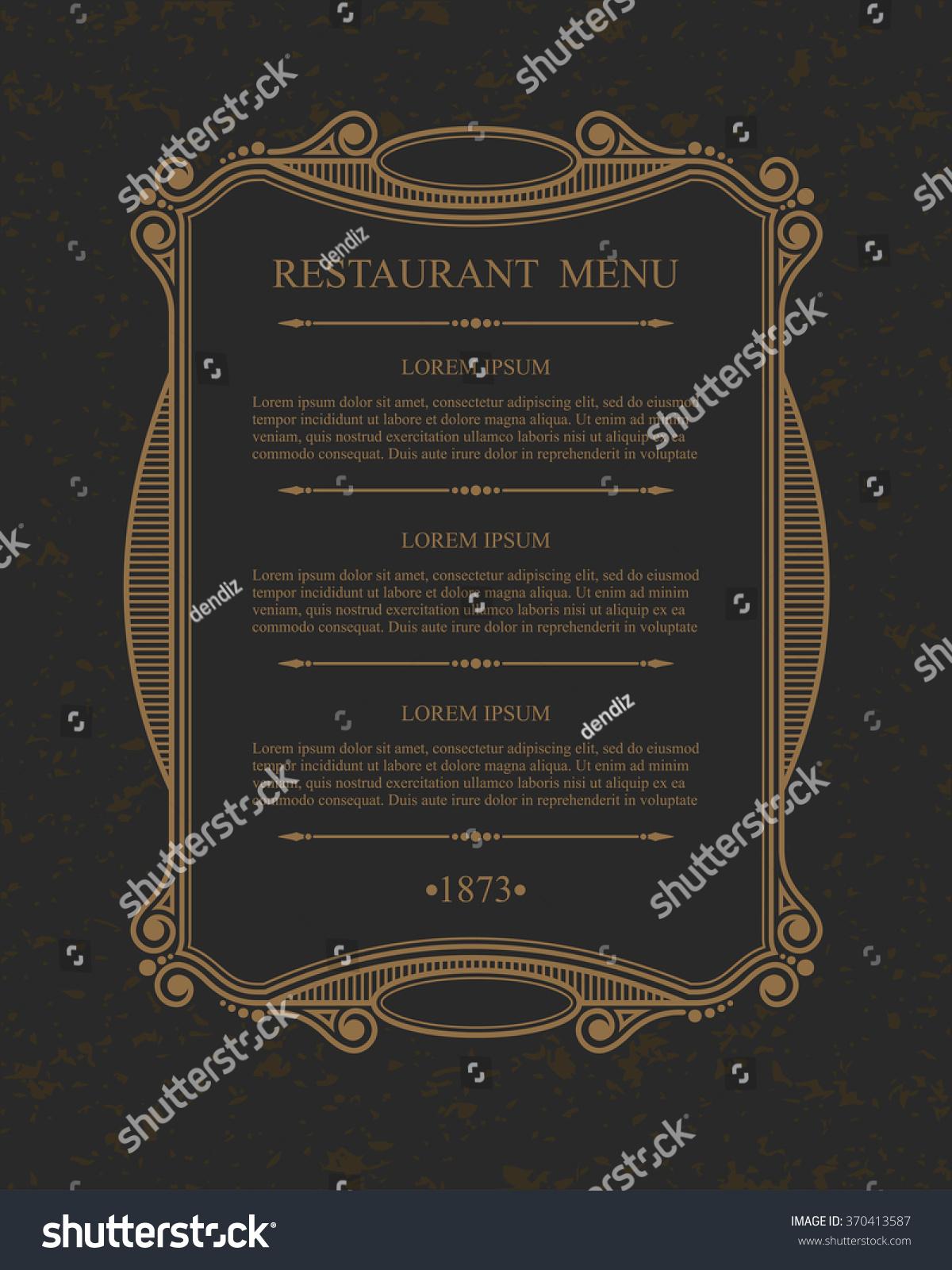 Flourishes Calligraphic Menu Restaurant Design Elements Stock Vector ...