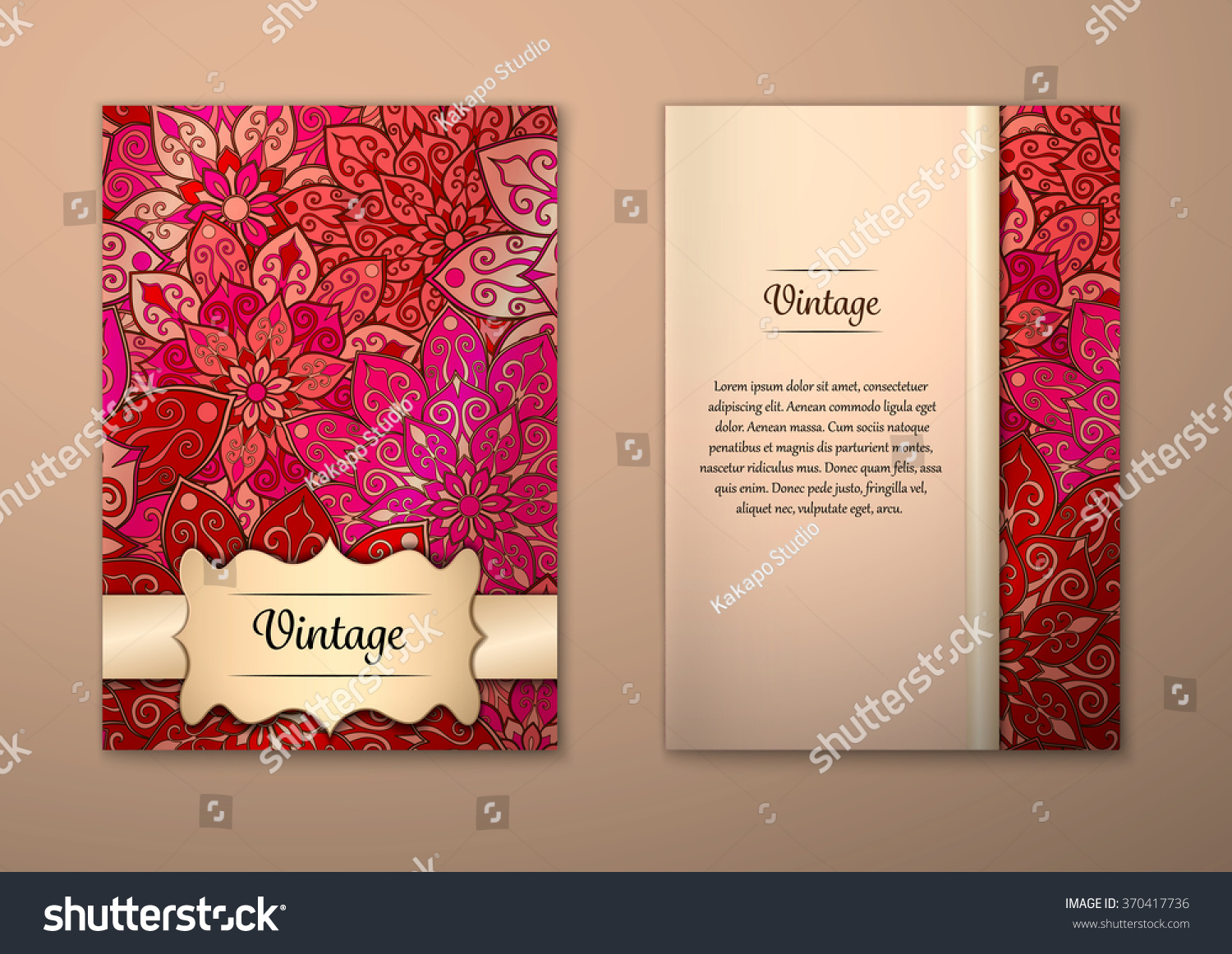Royalty-free Vintage cards with Floral mandala… #370417736 Stock ...