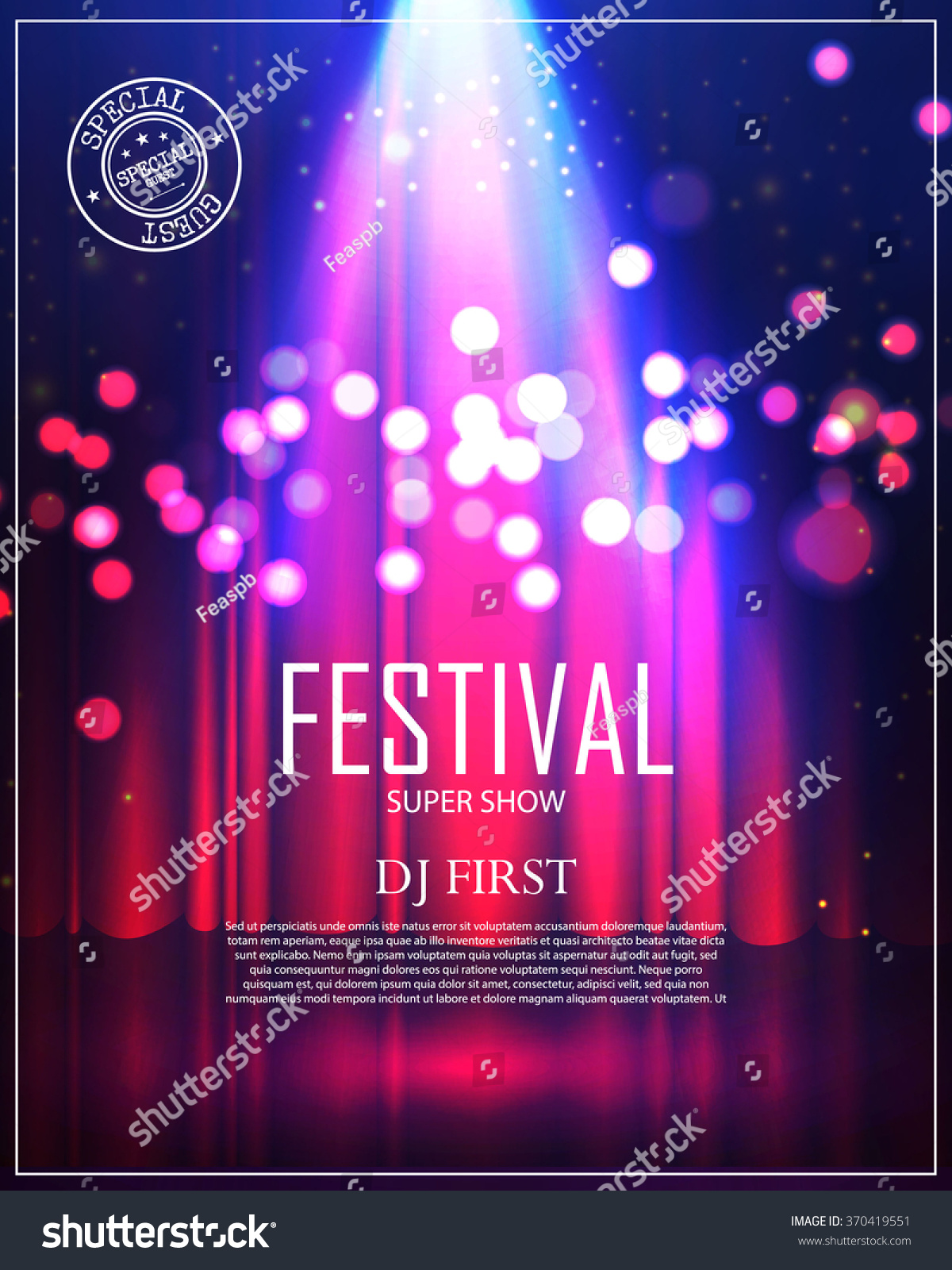 Festival Poster With Spotlight Concert Party Theater Dance Show Design