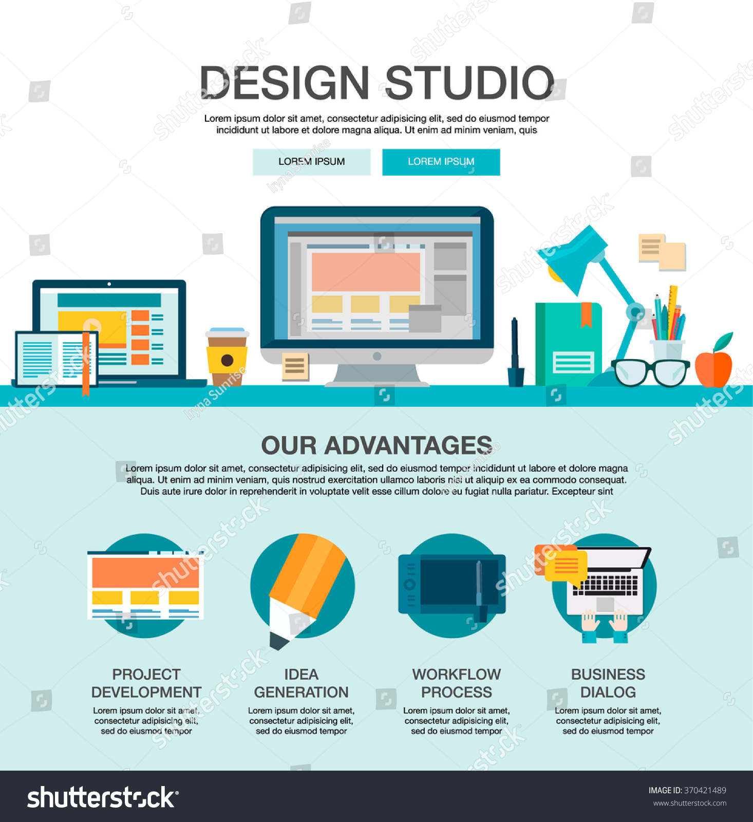 One Page Web Design Template Flat Stock Vector 370421489 - Shutterstock