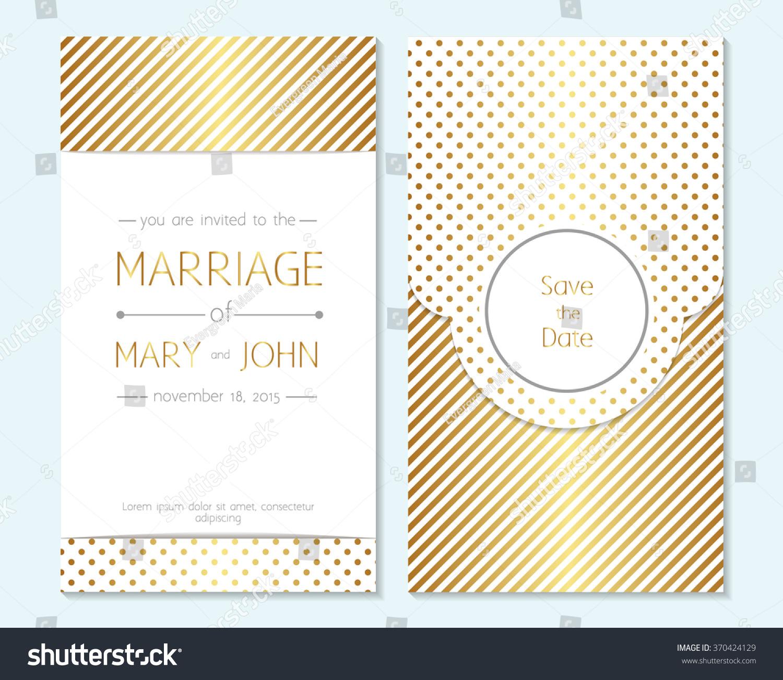 Gold Wedding Invitation Thank You Card Vector 370424129 – Thank You Card Template Wedding
