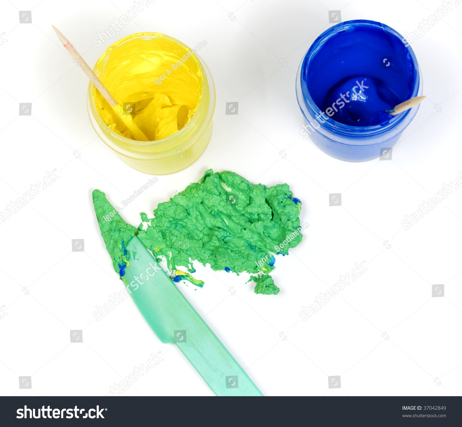 Blue Yellow Jars Paint Mixed Make Stock Photo 37042849