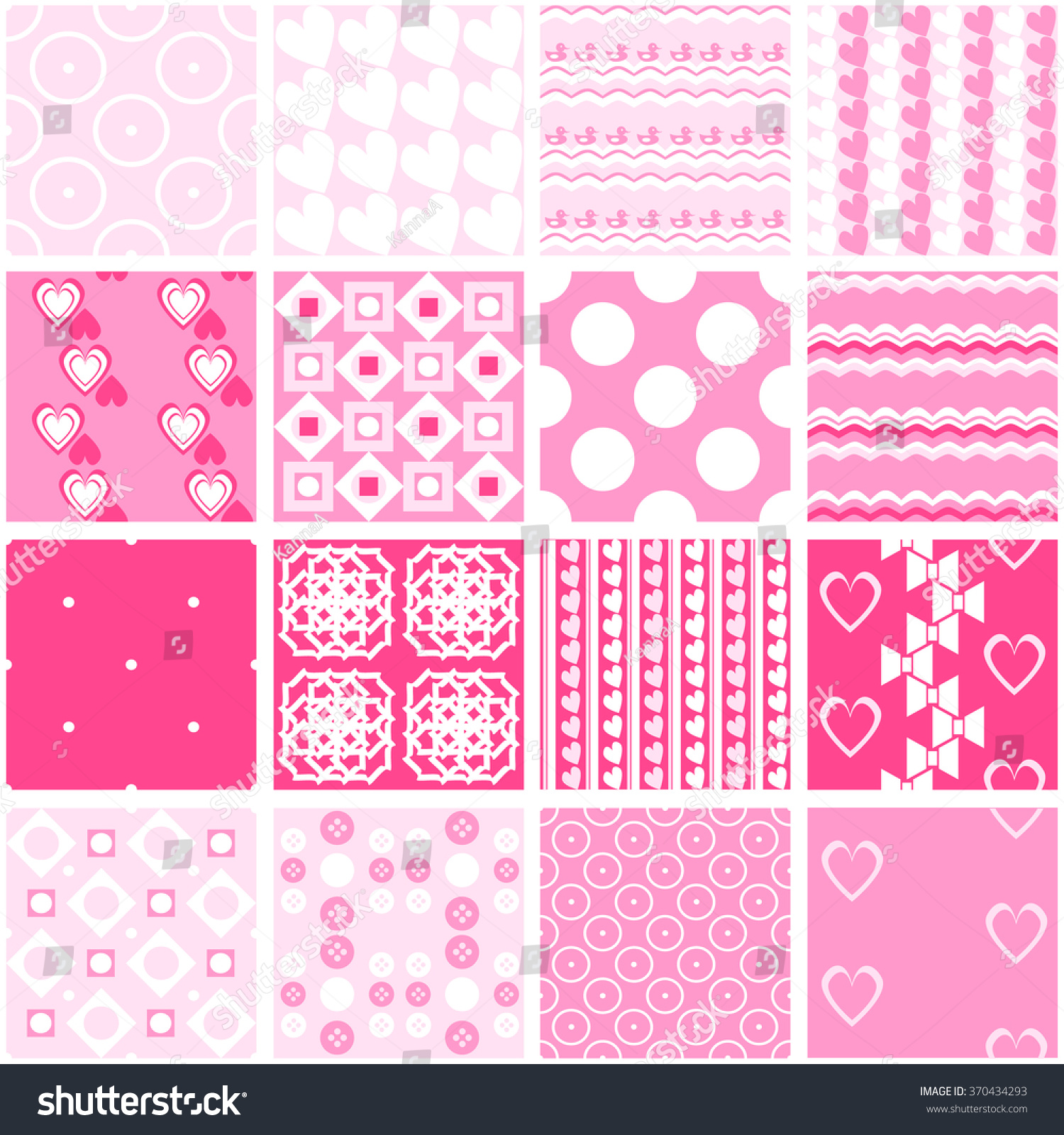 16 Cute Pink Vector Seamless Patterns 370434293