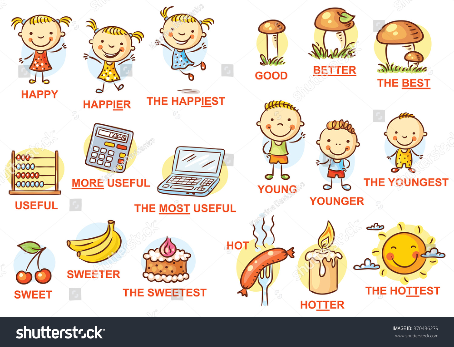 degrees comparison adjectives pictures colorful cartoon stock vector