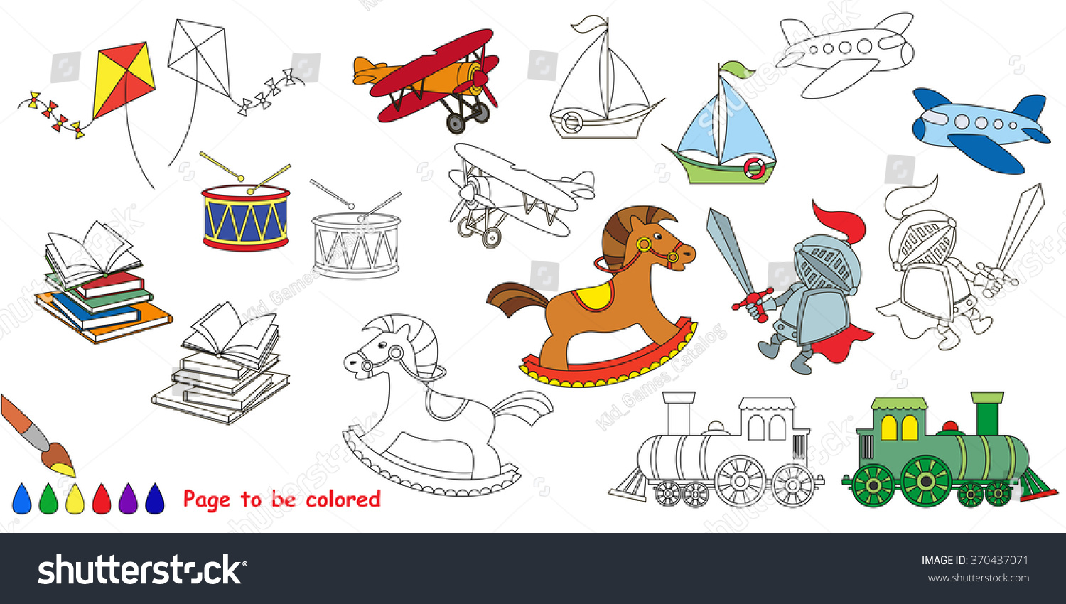 Boy Toy Big Coloring Book Colorless Stock Vector (Royalty Free ...
