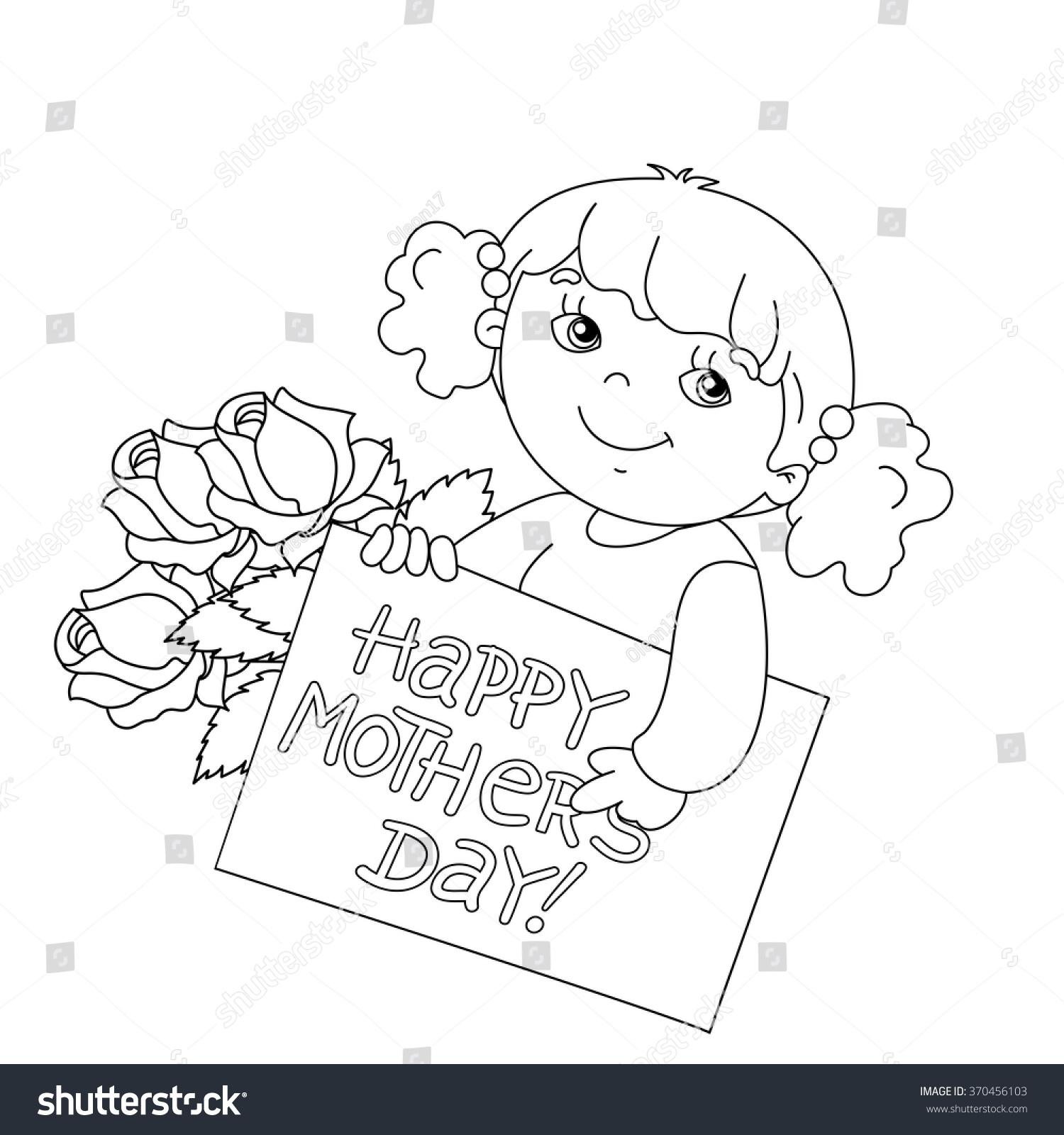 coloring page outline cute card stock vector 370456103