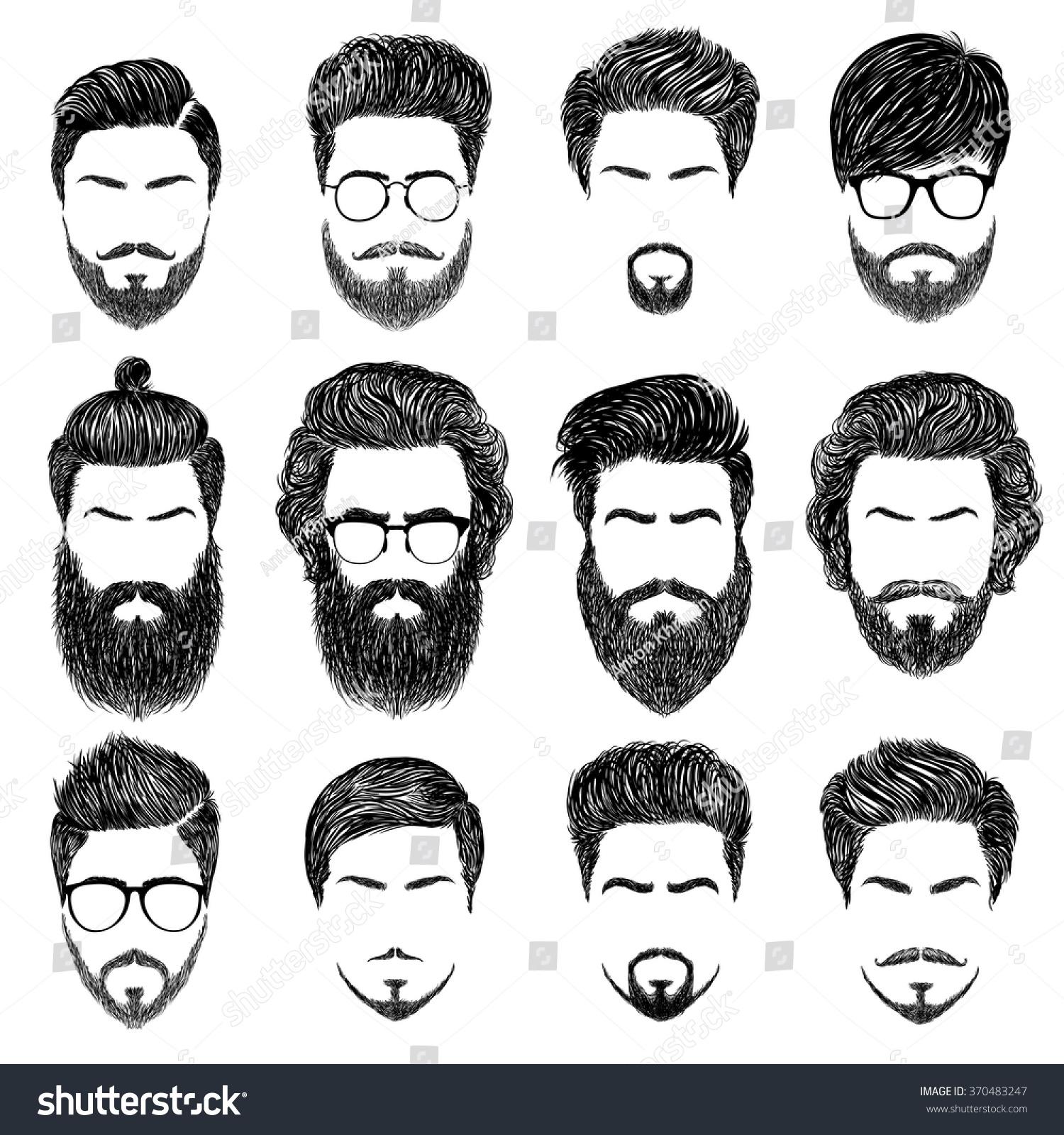 Set Mens Hairstyles Beards Mustachesgentlmen Haircuts