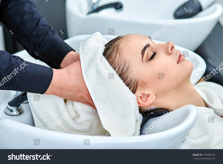 Shampoo hair beauty salon hair wash stock photo 370490774 for Wash hair salon