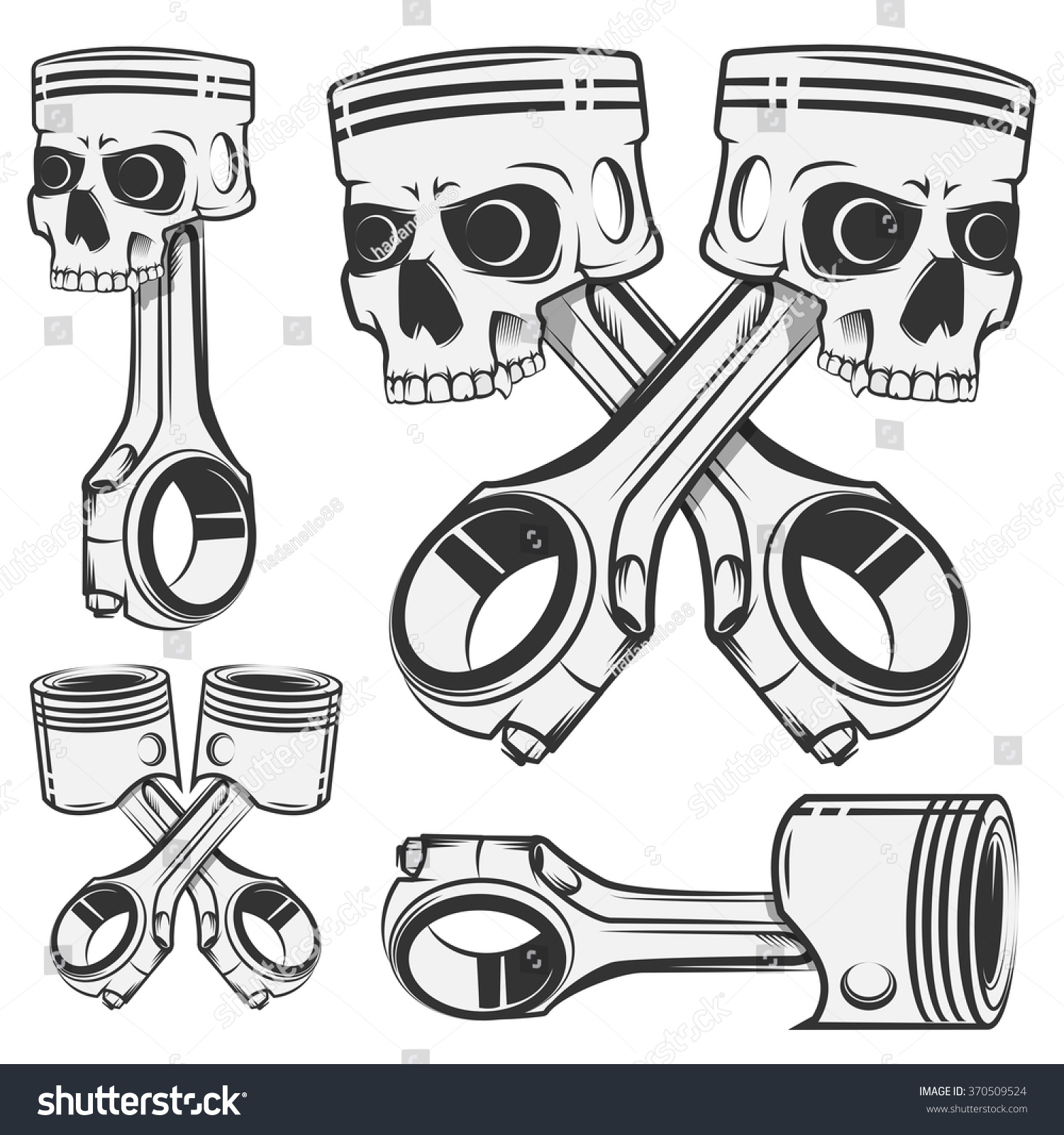 set of skull piston for emblems design tattoo labels stock vector illustration 370509524. Black Bedroom Furniture Sets. Home Design Ideas