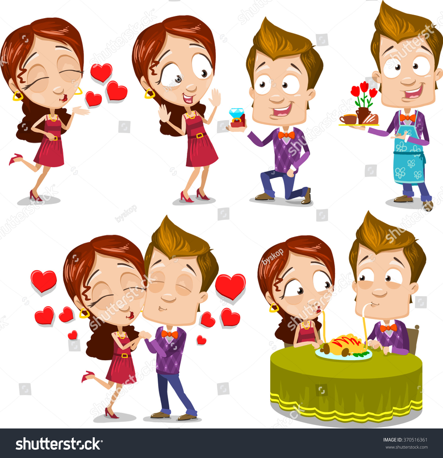 Cartoon Characters Kissing Each Other : Cartoon character vector set young couple stock