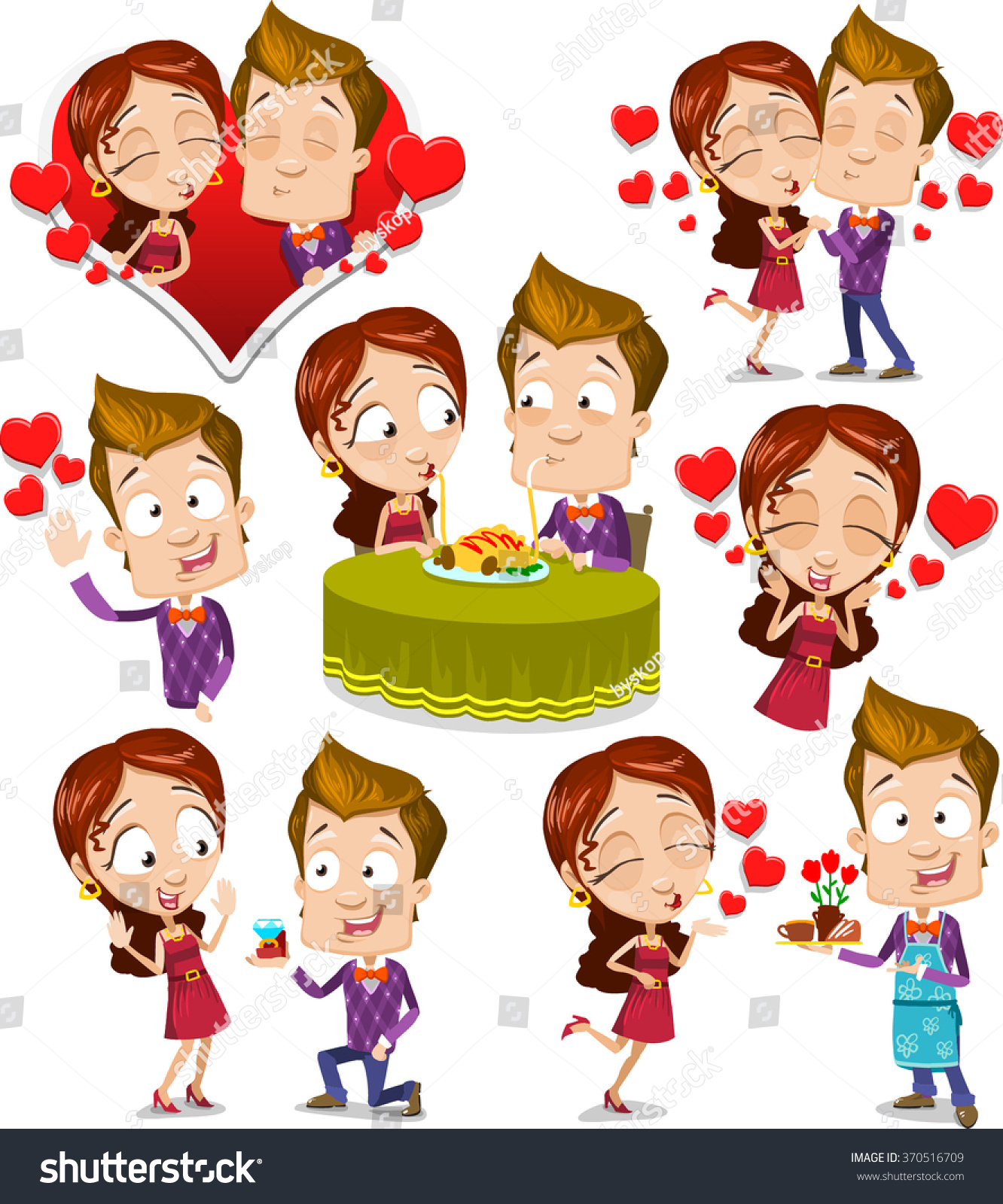 Cartoon Characters Kissing Each Other : Cartoon character vector set of young couple kissing