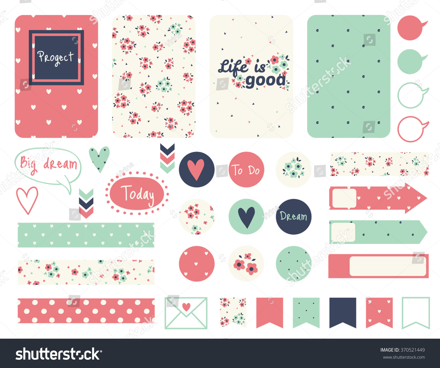 set creative cards design tape stickers stock vector (royalty free