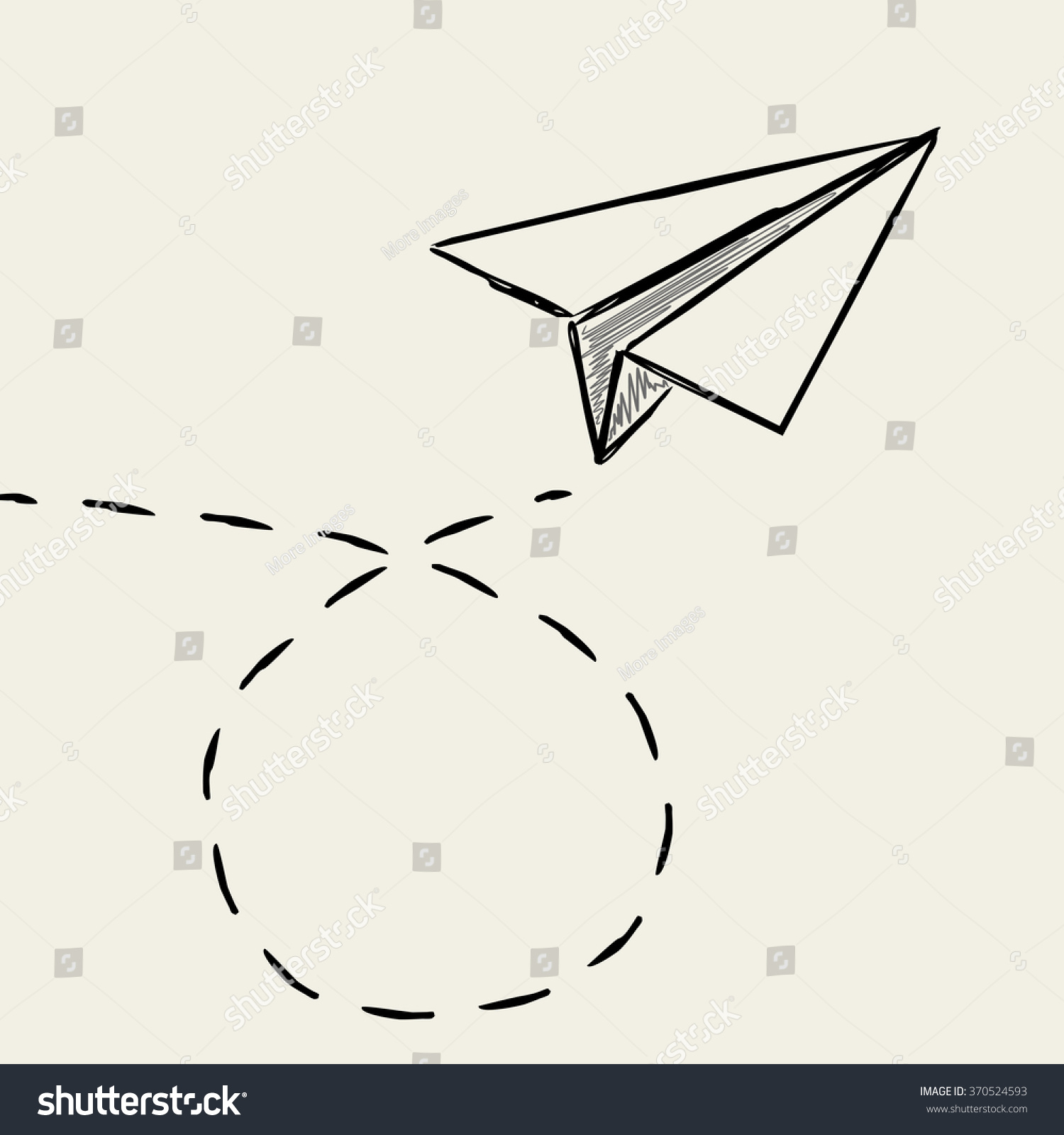 Paper Plane Drawing Dashed Trace Line Stock Vector Royalty Free