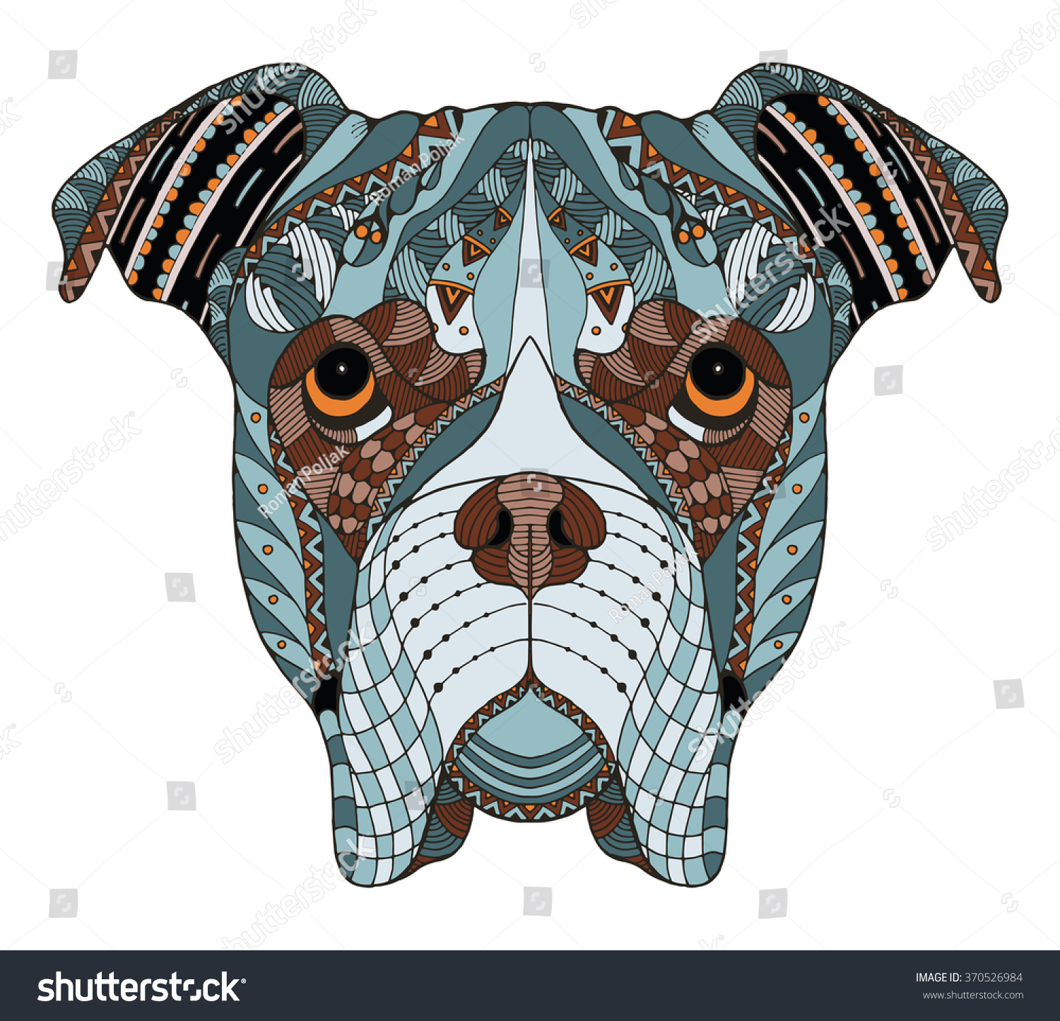 boxer dog head zentangle stylized vector stock vector 370526984