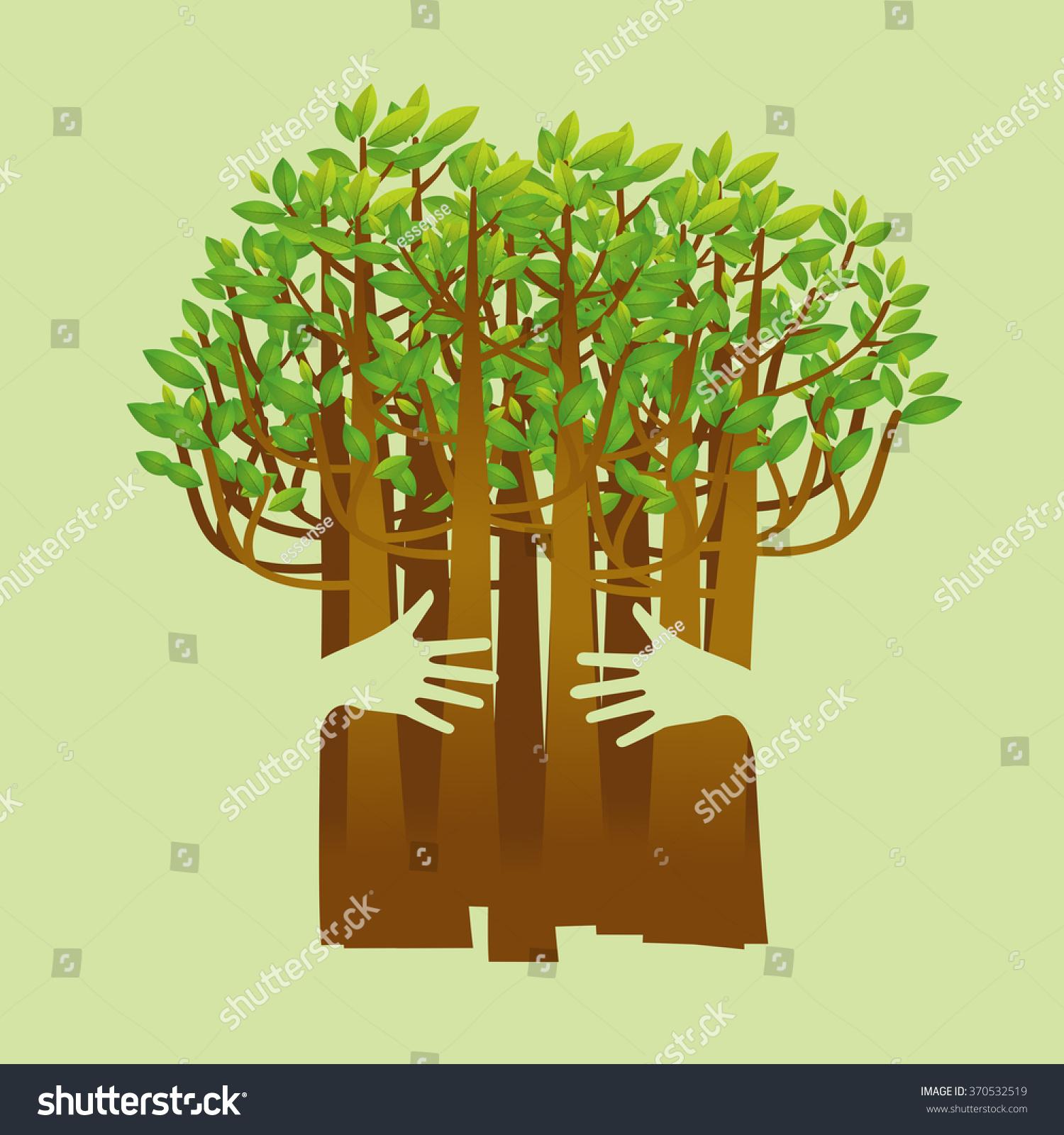 Environmental Concept Earthfriendly Landscapes: Eco Friendly Hands Hug Concept Green Stock Vector