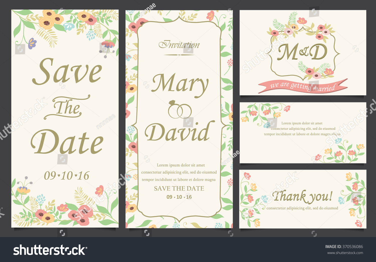 Wedding Invitation Love Valentines Day Template Stock Vector ...